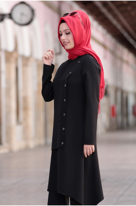 Büşra Tunik Pantolon Tesettür Takım - Siyah