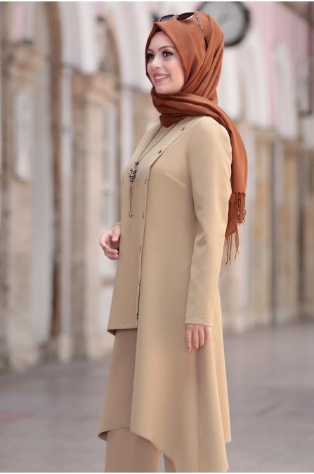 Büşra Tunik Pantolon Tesettür Takım - Vizon
