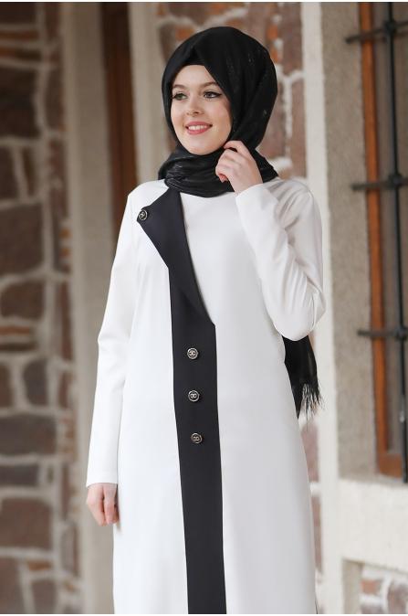 Lina Tesettür Takım - Ekru