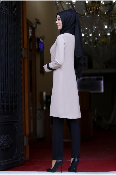 Sude İncili Tunik Pantolon İkili Takım - Vizon
