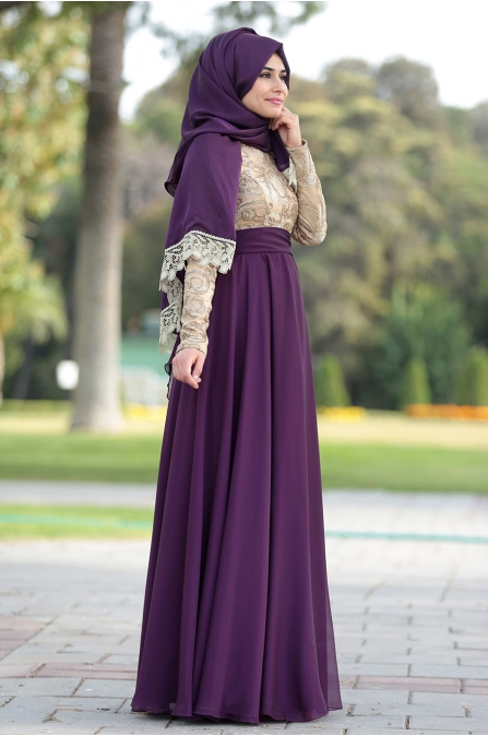 Som Fashion - Yakut Abiye - Mürdüm