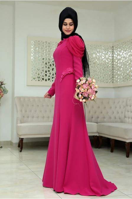 Gonca Gül Abiye - Fuşya - Som Fashion