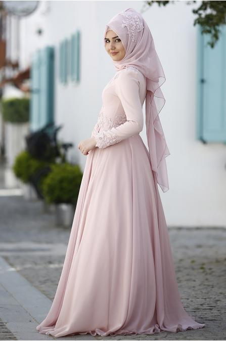 Leylak Abiye - Pudra - Som Fashion