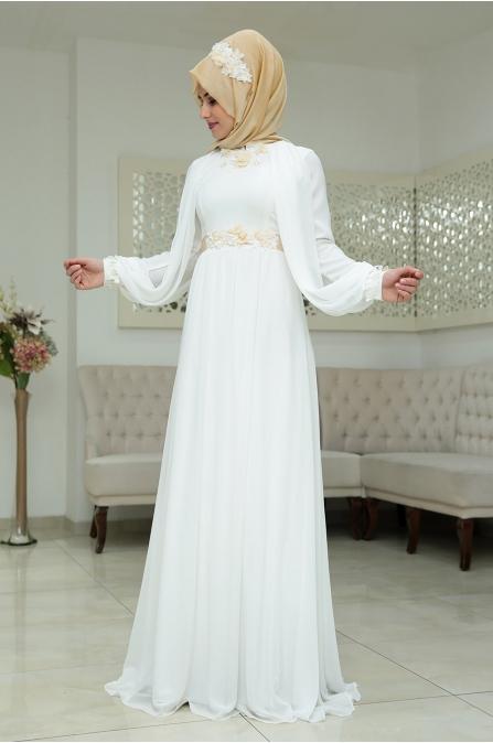 Nilüfer Abiye Ekru Som Fashion