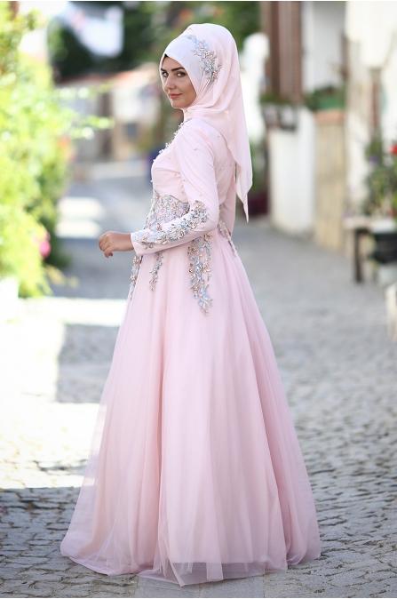 Som Fashion - Salkım Abiye - Pudra