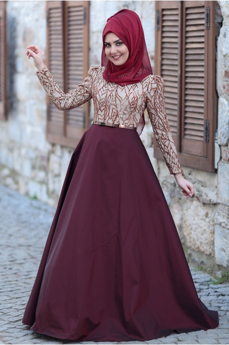 Som Fashion - Bordo Ekru - Esra Tafta Abiye