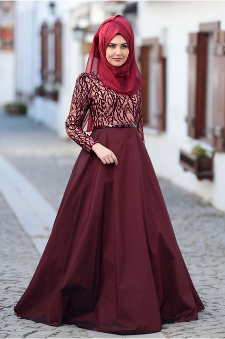 Som Fashion - Bordo Pudra  - Esra Tafta Abiye