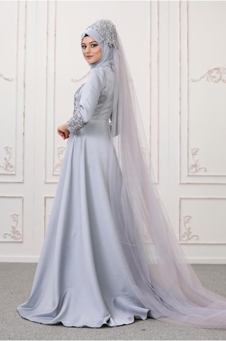 Lilyum Abiye - Gri - Som Fashion