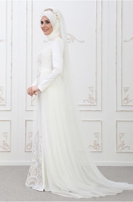 Pınar Abiye Ekru - Som Fashion