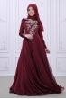 Safir Abiye - Bordo - Som Fashion