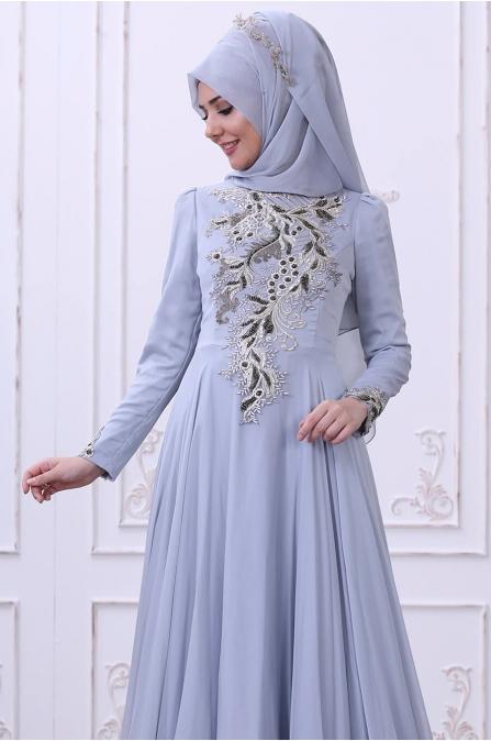 Safir Abiye - Mavi - Som Fashion