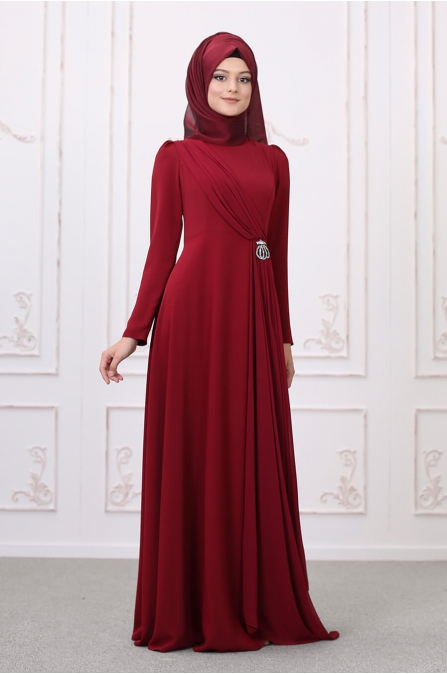 Şelale Abiye - Bordo- Som Fashion