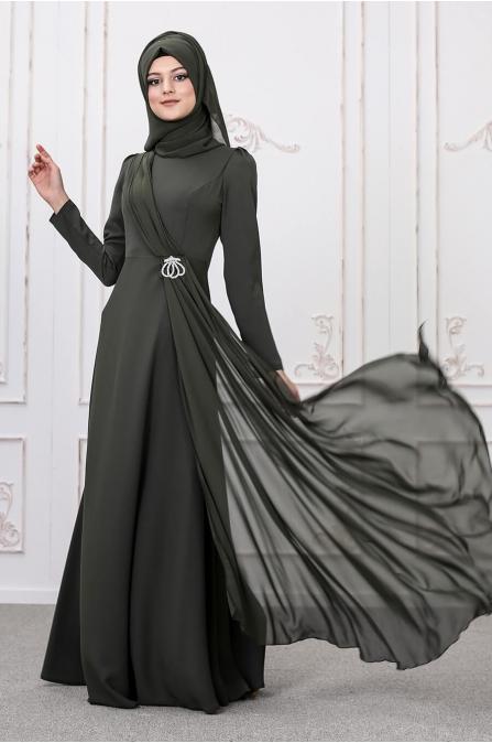 Şelale Abiye - Haki - Som Fashion