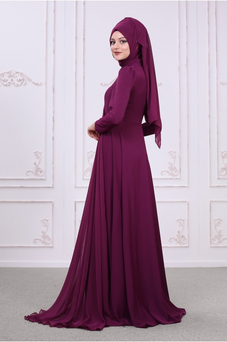Şelale Abiye - Mürdüm - Som Fashion