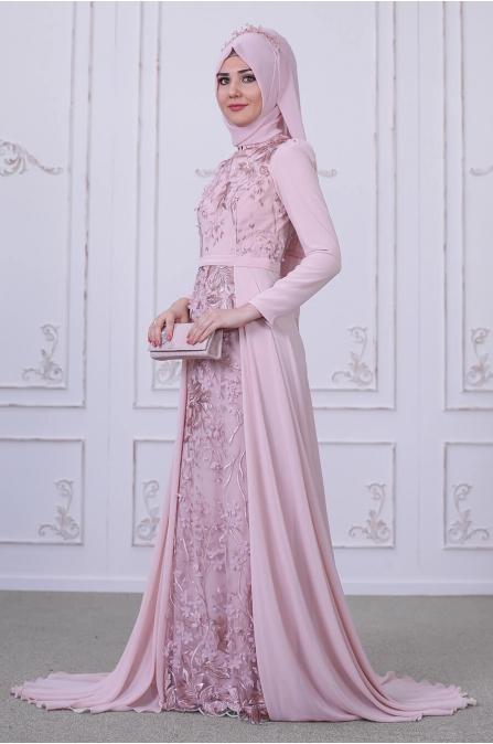 Zambak Abiye - Pudra - Som Fashion