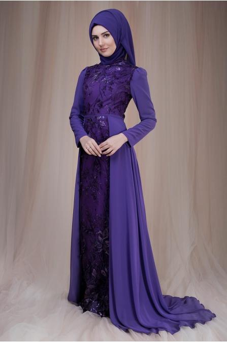 Zambak Abiye - Mor - Som Fashion