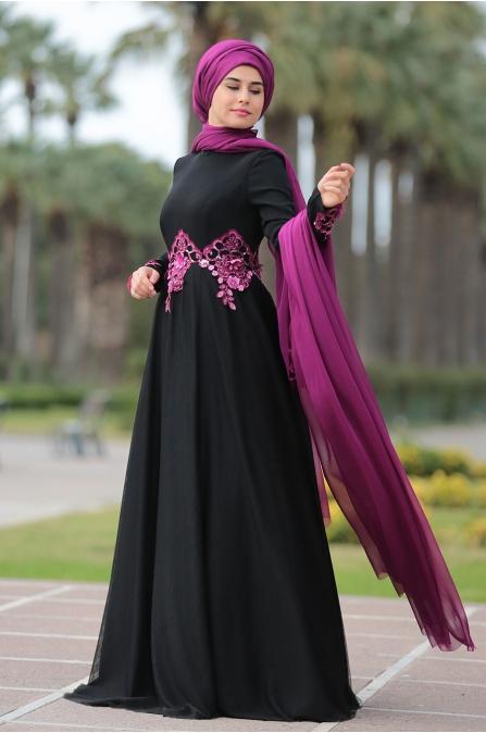 Som Fashion Siyah Fulyan Abiye