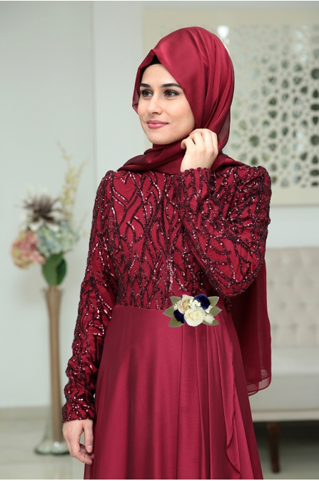 Som Fashion Bordo Hümaşah Tesettür Abiye