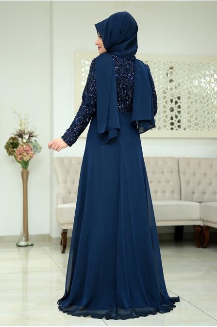 Som Fashion Lacivert Hümaşah Tesettür Abiye