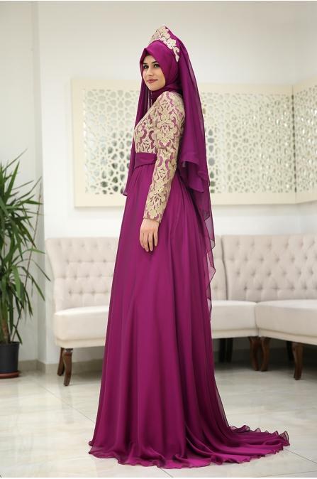 Saraylı Tesettür Abiye - Fuşya - Som Fashion