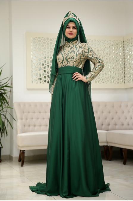 Saraylı Abiye - Zümrüt Yeşil - Som Fashion