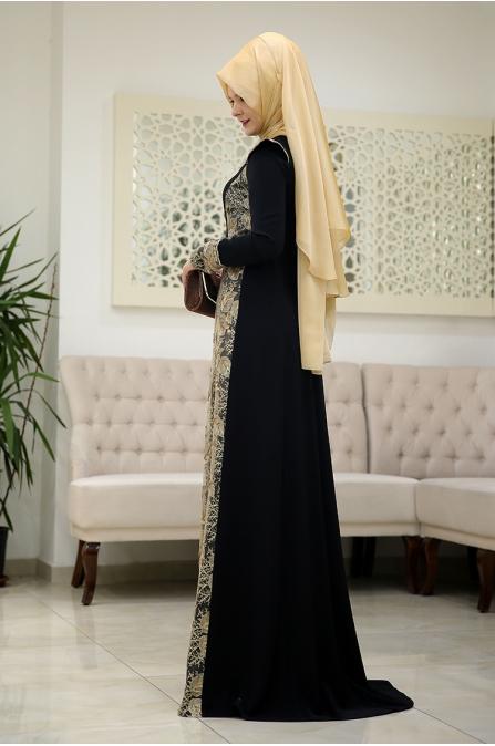 Burc Siyah Tesettür Abiye -  Som Fashion