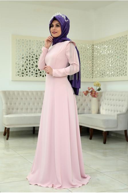 Zincirli Büşra Abiye - Pudra - Som Fashion