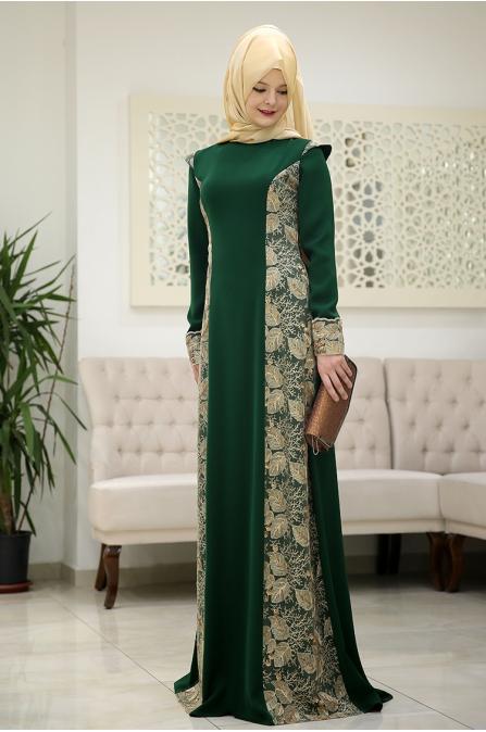 Burc Zümrüt Yeşil Tesettür Abiye - Som Fashion