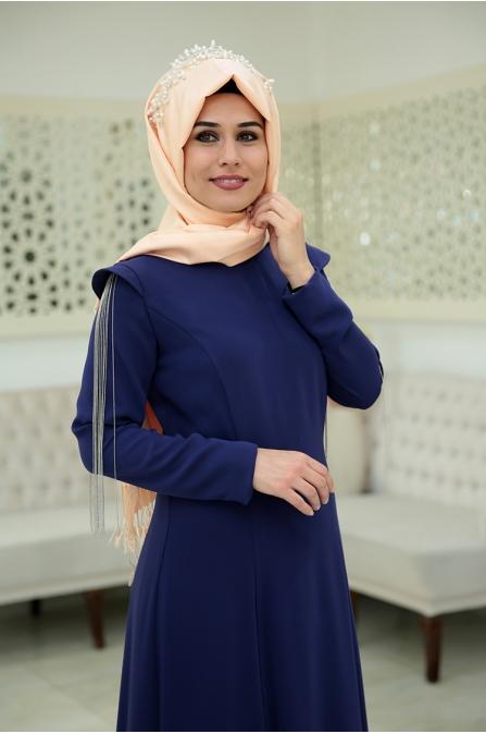 Zincirli Büşra Abiye - Mor - Som Fashion