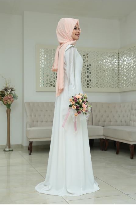 Zincirli Büşra Abiye - Ekru - Som Fashion