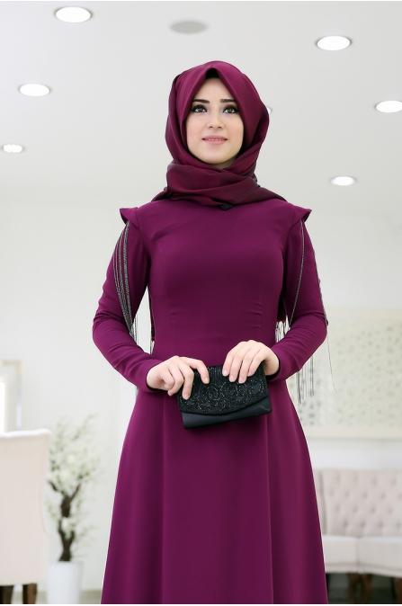 Zincirli Büşra Abiye - Mürdüm - Som Fashion