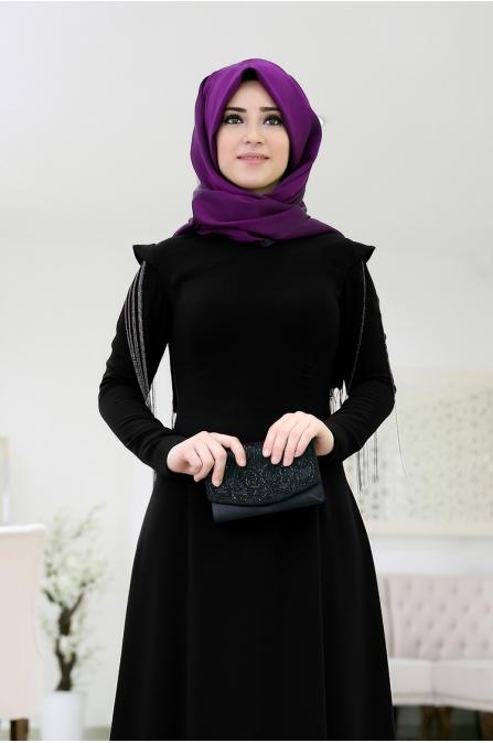 Zincirli Büşra Abiye - Siyah - Som Fashion