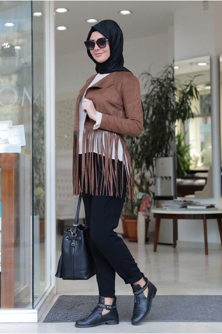 Som Fashion - Kahve Püsküllü Stil Ceket