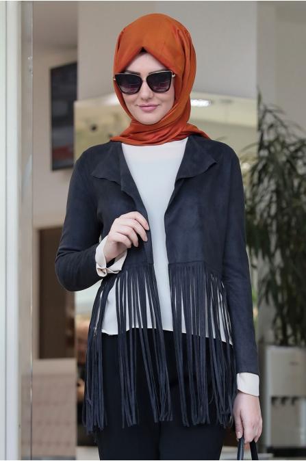 Som Fashion - Siyah Püsküllü Stil Ceket