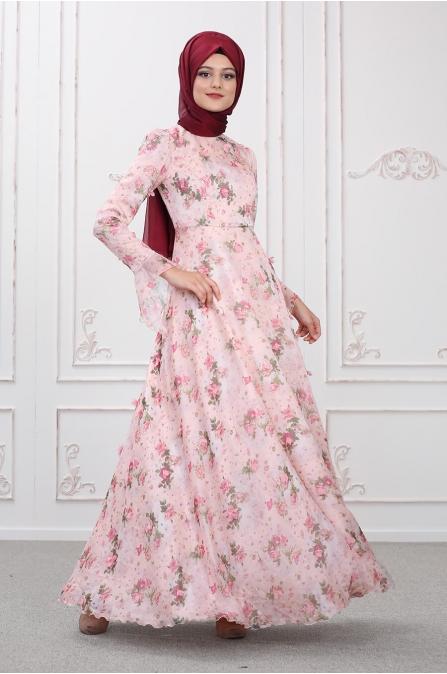 Bahar Elbise - Pudra - Som Fashion