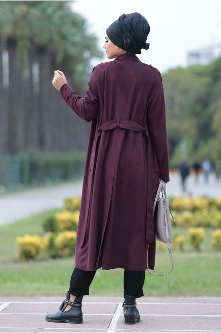 Mürdüm Trend Süet Kaban - Som Fashion