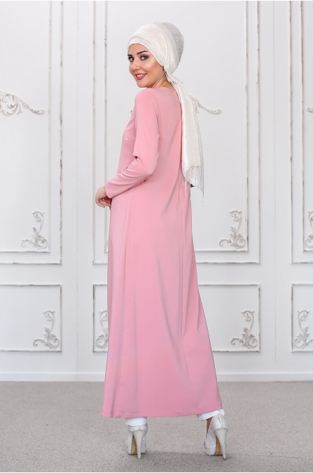 Burcu Tunik Pantolon Takım - Pudra - Som Fashion