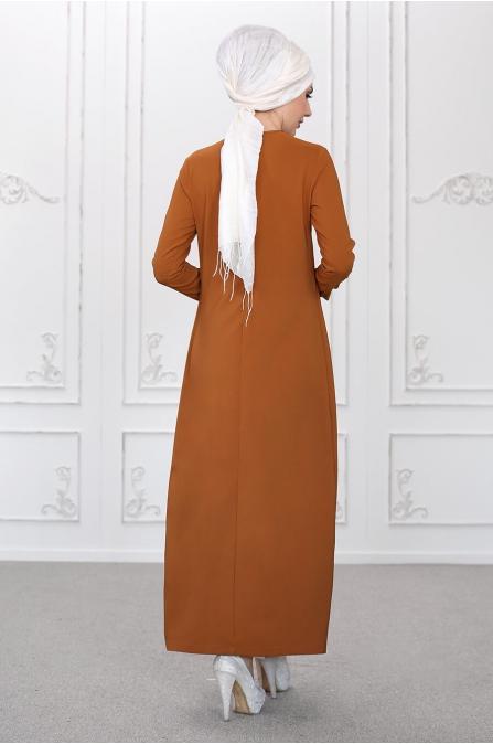Burcu Tunik Pantolon Takım - Taba - Som Fashion
