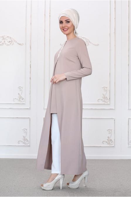 Burcu Tunik Pantolon Takım - Vizon - Som Fashion