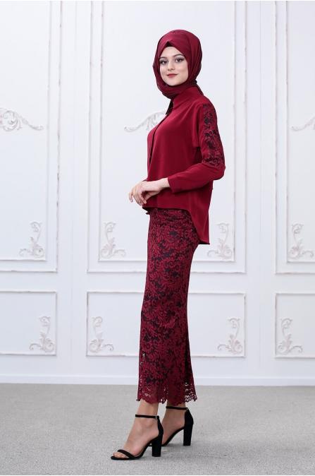 Etek Bluz Takım - Bordo - Som Fashion