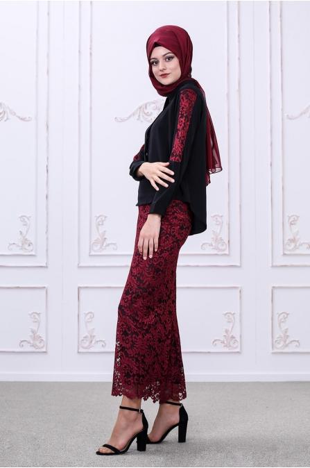 Etek Bluz Takım - Siyah - Som Fashion