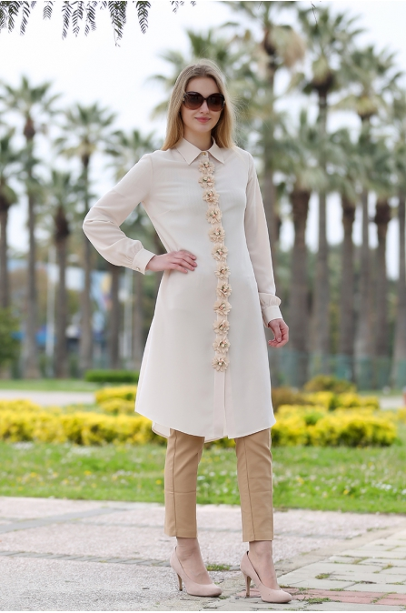 Bahar Tunik -  Krem - Som Fashion