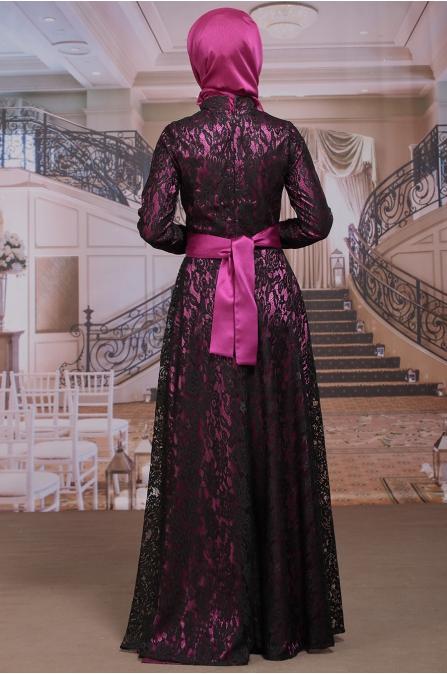 Dantel Kaplama Fuşya Siyah Abiye - Sümay Moda