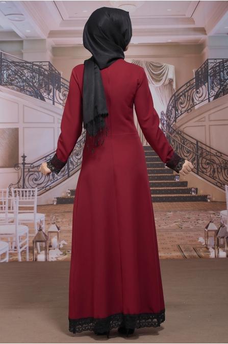 Hesna Büyük Beden Elbise - Bordo