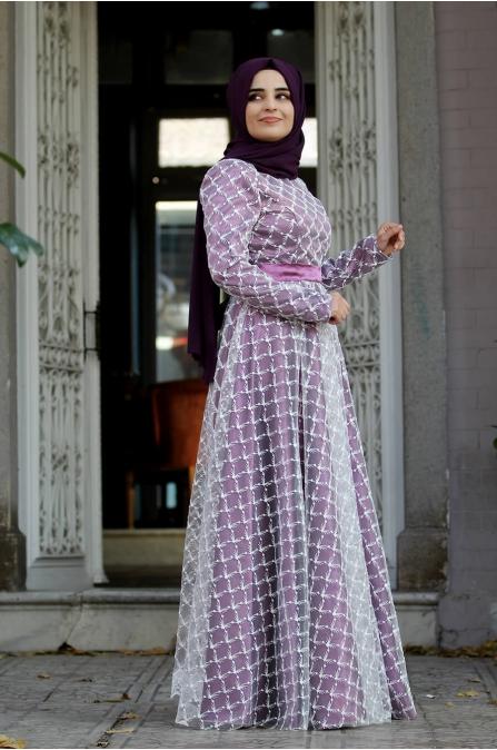Nurunnisa Abiye  - Mürdüm - Sümay Moda