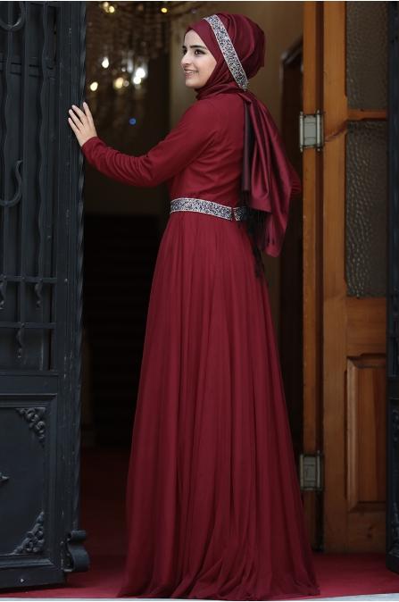 Sümay - Taşlı Roza Abiye - Bordo