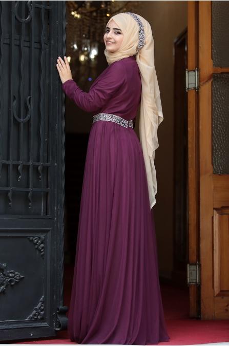 Sümay - Taşlı Roza Abiye - Mürdüm