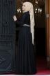 Sümay - Taşlı Roza Abiye - Siyah