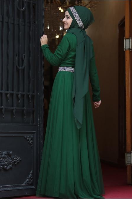 Sümay - Taşlı Roza Abiye - Zümrüt