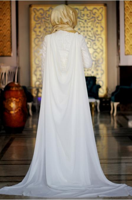 Sümay - Ekru Ayışığı Dantel Abiye Elbise